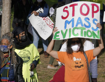 Protesters call for support for tenants and homeowners at risk of eviction during a demonstration on Oct. 11 in Boston