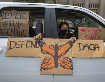 People are pictured demonstrating in June in favor of the Deferred Action for Childhood Arrivals program. Immigrant rights advocates hailed Friday's ruling allowing new applications as a