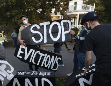 Housing activists erect a