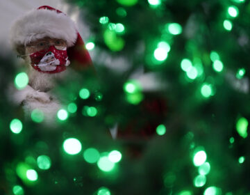Bill Sandeen, dressed as Santa Claus, waits for the opening of a Santa drive-through selfie station in Las Vegas