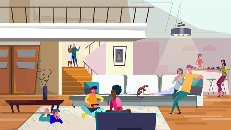 Kids playing video games, women cooking in kitchen, living room flat vector illustration