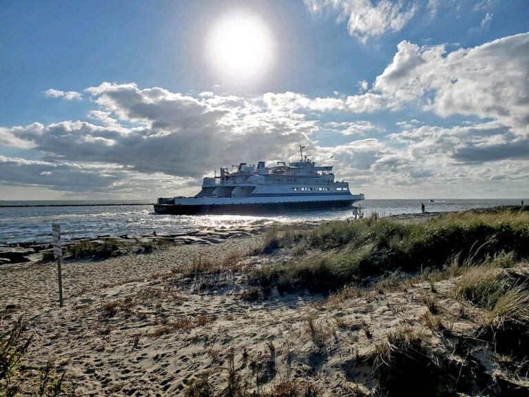 The Cape May-Lewes Ferry cruises across the Delaware Bay between Cape May, New Jersey, and Lewes, Delaware.