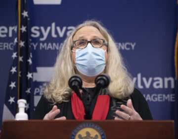 Pennsylvania Secretary of Health Dr. Rachel Levine addresses the press in Harrisburg.