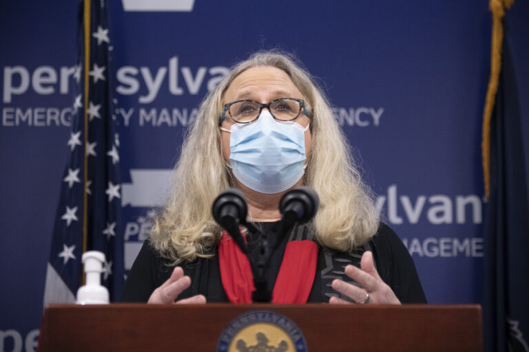 Pennsylvania Secretary of Health Dr. Rachel Levine addresses the press in Harrisburg.