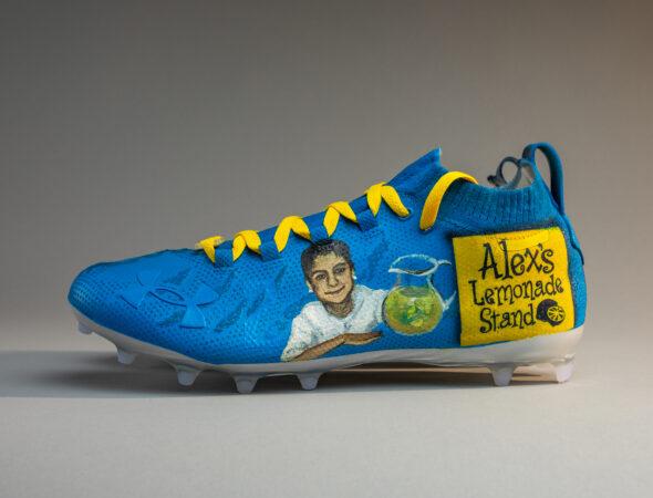 Customized cleats for Jalen Hurts feature nonprofit Alex's Lemonade Stand
