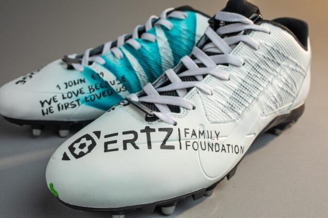 Customized cleats for Zach Ertz feature the Ertz Family Foundation