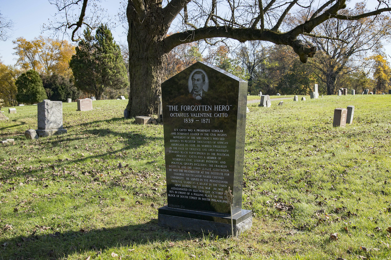 A new headstone for Octavius Catto at Eden Cemetery.