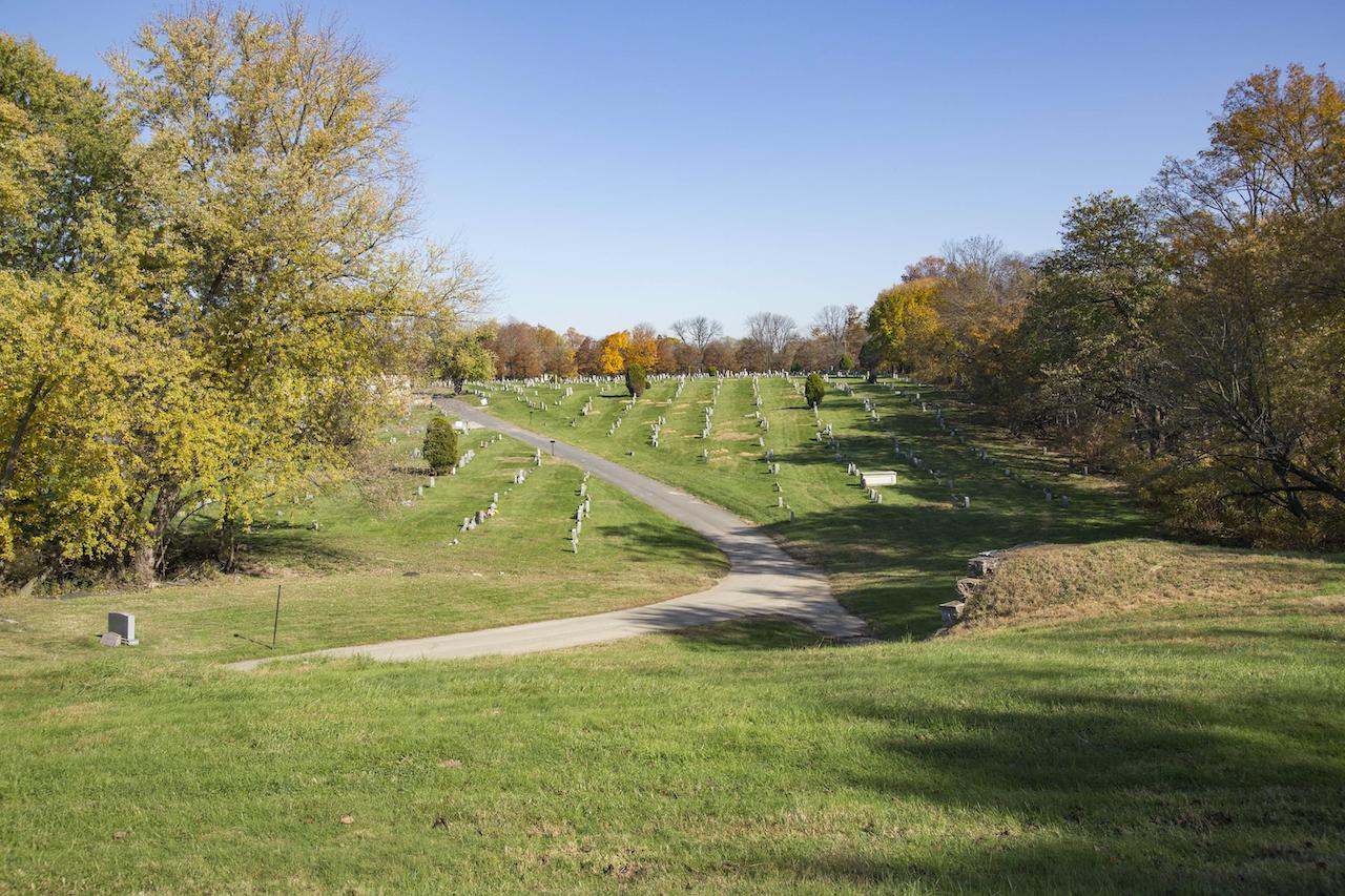 A wide view of Eden Cemetery outside Philadelphia