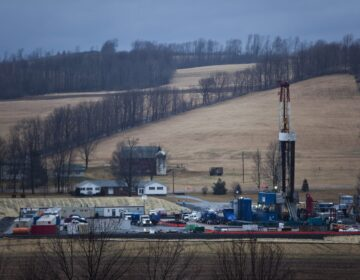 A hydraulic fracturing drill rig in Bradford County