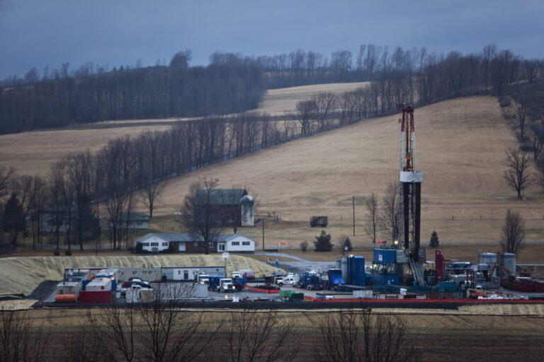A hydraulic fracturing drill rig in Bradford County