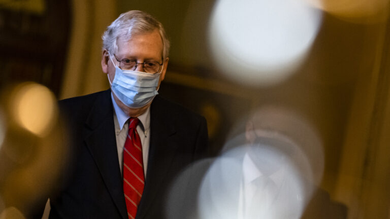 Senate Majority Leader Mitch McConnell, R-Ky., has blocked an attempt to have senators vote on increasing direct coronavirus relief payments. (Samuel Corum/Getty Images)