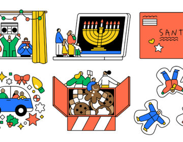 An illustration of holiday activities