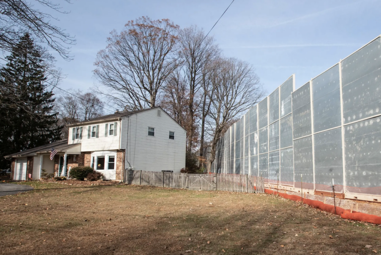 A home is seen outside of a construction area for the Mariner East Pipeline