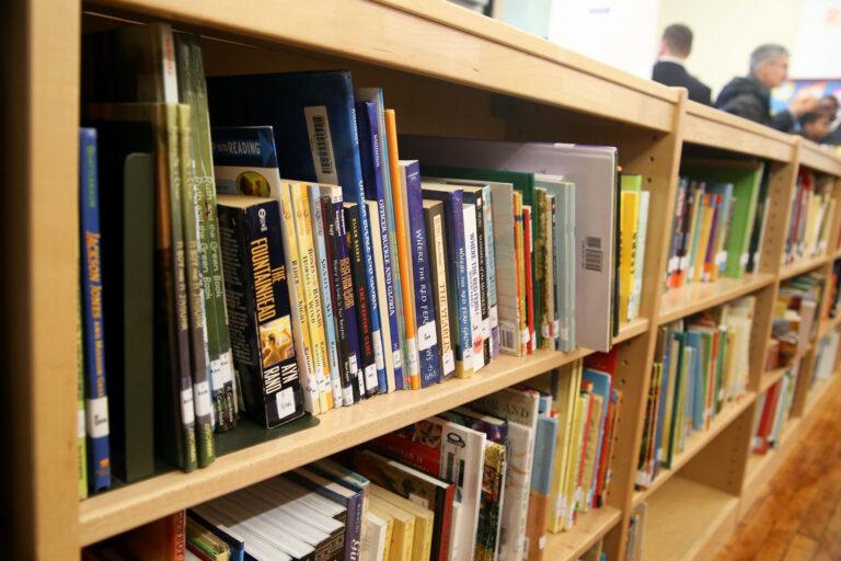 Books are pictured at the Bache Martin School Library in Philadelphia