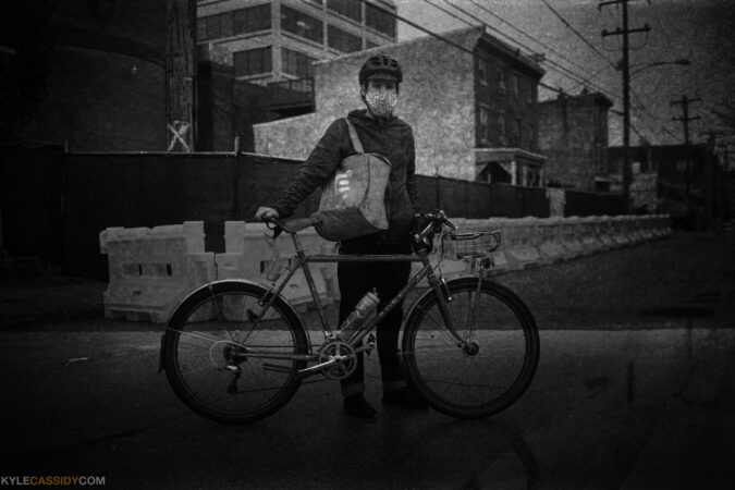 Travis is a bicycle delivery person for Caviar. (Kyle Cassidy)