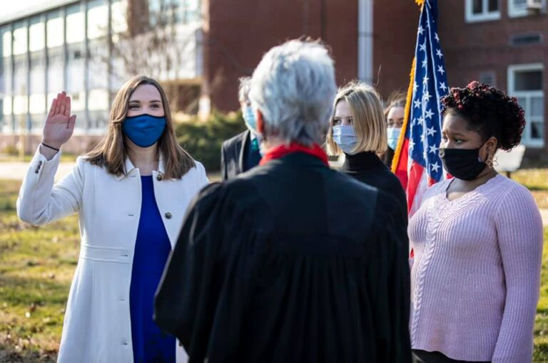 Sarah McBride was sworn into office as a Delaware state Senator on Jan. 12, 2021, becoming the state's first openly transgender lawmaker. (Photo by Kyle Grantham)