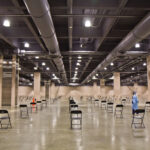 Empty chairs are seen inside the Pennsylvania Convention Center