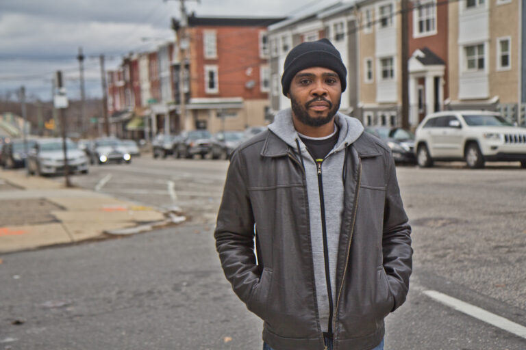 De'Wayne Drummond, president of the Mantua Civic Association, at 34th and Wallace streets in Philadelphia. (Kimberly Paynter/WHYY)