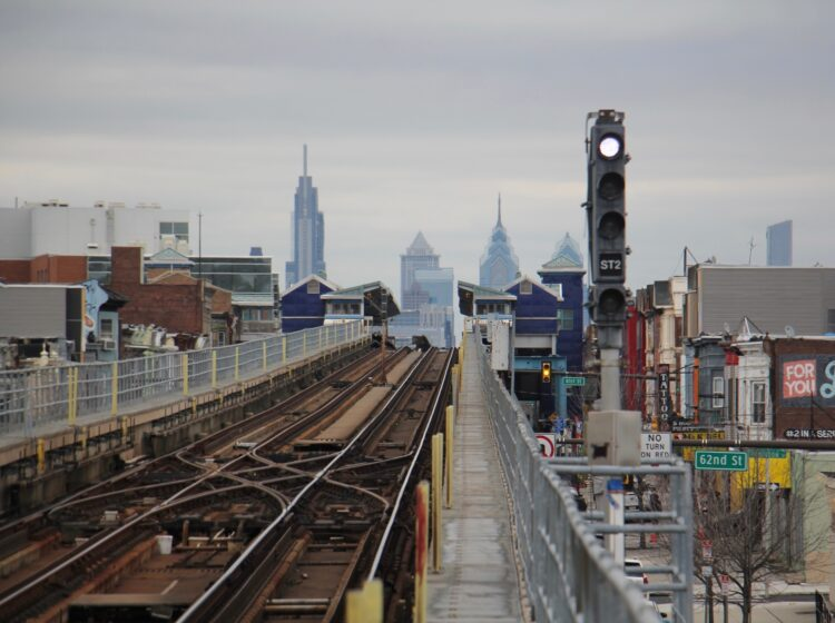 The Philadelphia skyline is seen from the Market Frankford platform at 63rd Street