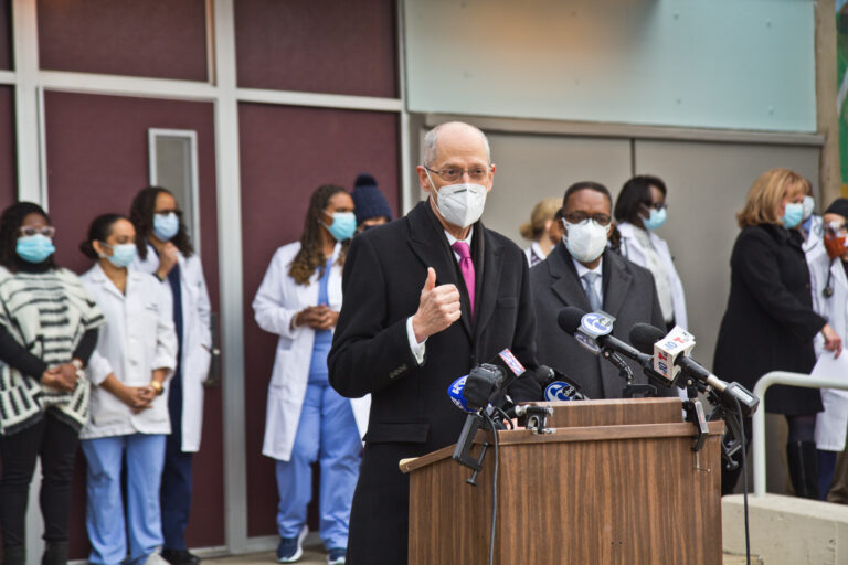 Philadelphia Health Commissioner Dr. Thomas Farley talks about COVID-19 vaccine distribution at a press conference announcing the opening of a vaccine clinic at the city's Health Center 5 in North Philadelphia Wednesday. (Kimberly Paynter/WHYY)
