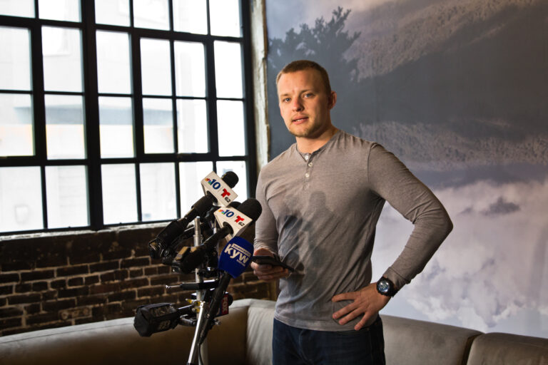 Philly Fighting COVID CEO Andrei Doroshin inside his apartment building