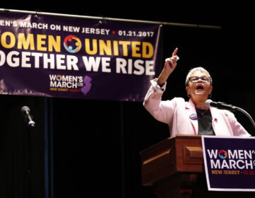 U.S. Rep. Bonnie Watson Coleman, D-NJ, delivers remarks during a rally in support of the national Women's March on Washington during a gathering at Patriots Theater at the War Memorial, Saturday, Jan. 21, 2017, in Trenton, N.J. The march was held in in conjunction with with similar events taking place around the nation following the inauguration of President Donald Trump. (AP Photo/Julio Cortez)