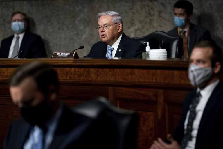 Senate Committee on Foreign Relations Ranking Member Sen. Bob Menendez, D-N.J., speaks during a Senate Committee on Foreign Relations hearing on US Policy in the Middle East, Thursday, Sept. 24, 2020 on Capitol Hill in Washington. (Erin Schaff/The New York Times via AP, Pool)