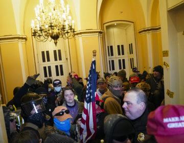 Supporters of President Donald Trump stand inside the U.S. Capitol on Wednesday, Jan. 6, 2021, in Washington. (AP Photo/John Minchillo)