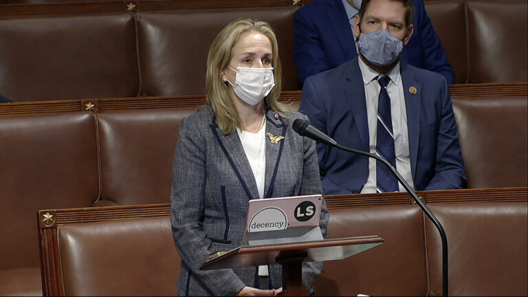In this image from video, Rep. Madeleine Dean, D-Pa., speaks as the House debates the objection to confirm the Electoral College vote from Pennsylvania, at the U.S. Capitol early Thursday, Jan. 7, 2021. (House Television via AP)