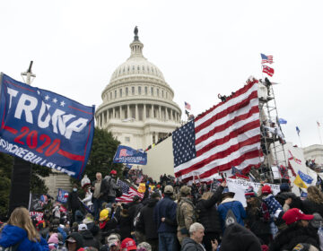 In this Jan. 6, 2021, file photo, supporters of President Donald Trump stand outside the U.S. Capitol in Washington. (AP Photo/Jose Luis Magana)