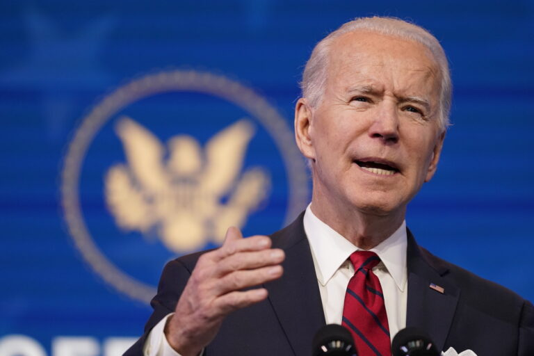President-elect Joe Biden speaks during an event at The Queen theater