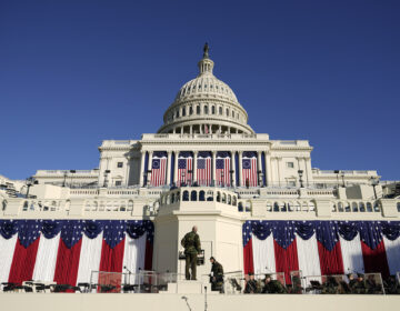A view of the inaugural stage outside the Captiol