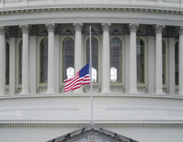 An American flag flies at half-staff in remembrance of U.S. Capitol Police Officer Brian Sicknick above the Capitol Building