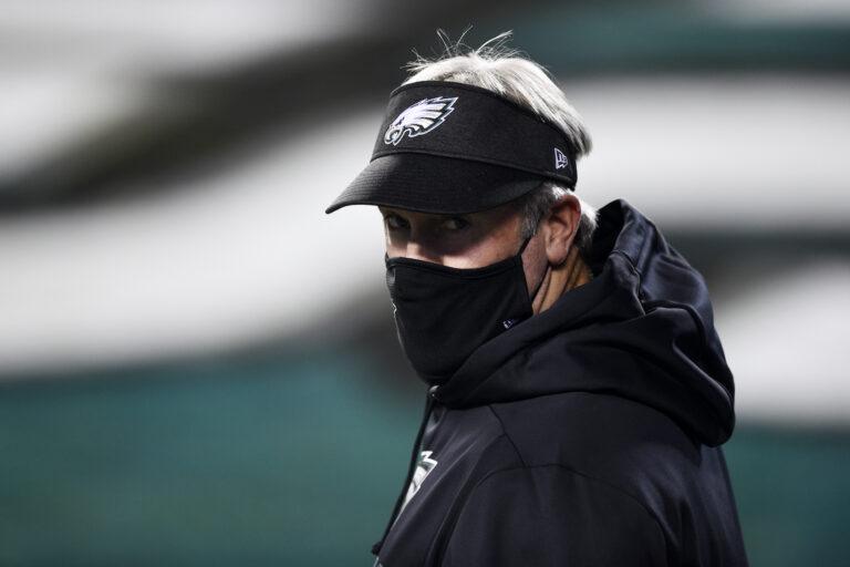 Philadelphia Eagles head coach Doug Pederson walks the field
