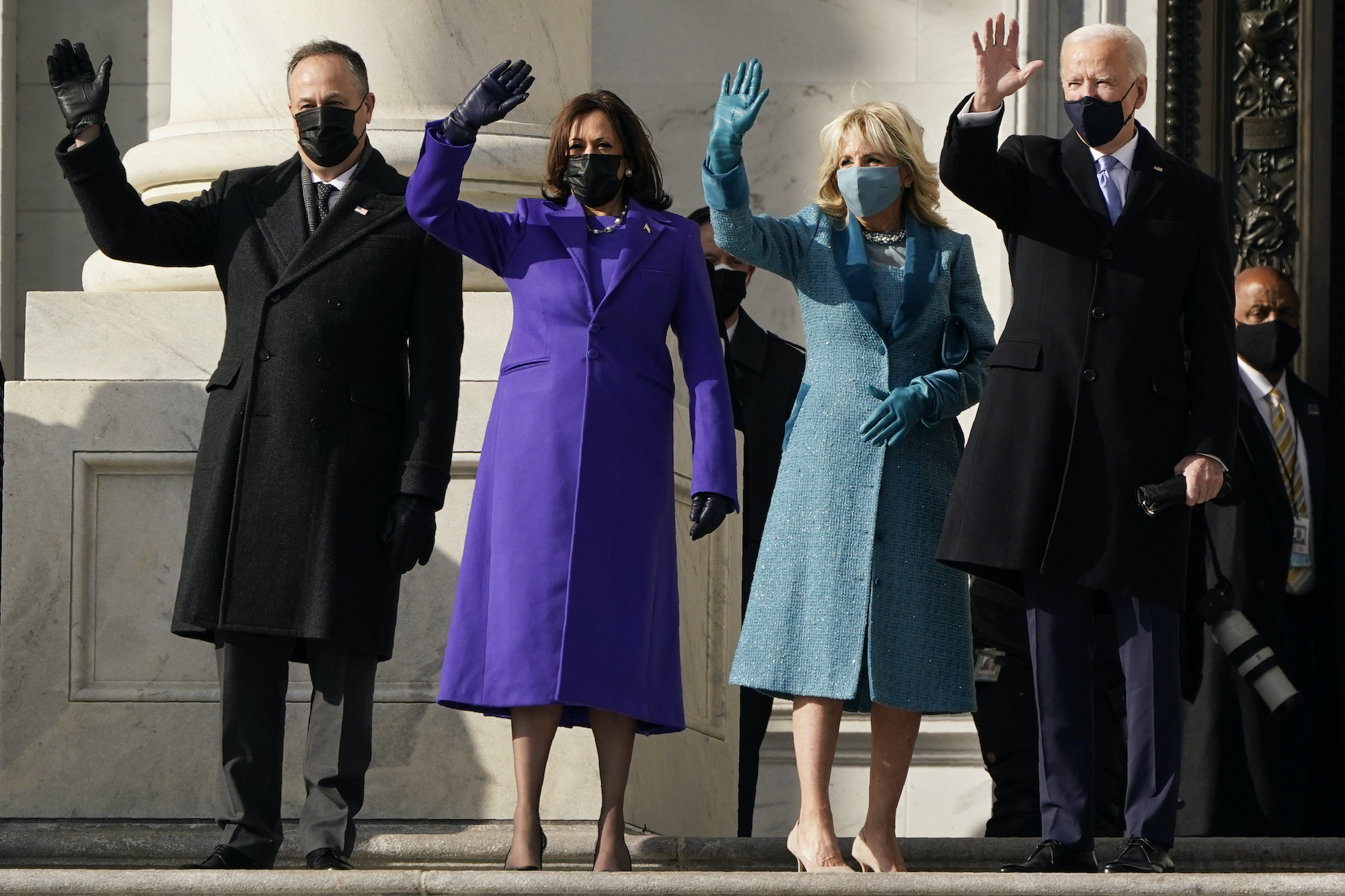 President-elect Joe Biden, his wife Jill Biden and Vice President-elect Kamala Harris and her husband Doug Emhoff arrive at the steps of the U.S. Capitol