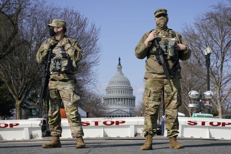 National Guard keep watch on the Capitol