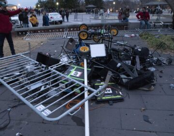 Pro-Trump insurrectionists left a pile of broken TV equipment outside the the U.S. Capitol on Wednesday, Jan. 6, 2021, in Washington. (