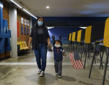 Lisa Carrera and her 2-year-old grandson Maverick hold hands as they walk inside a polling place