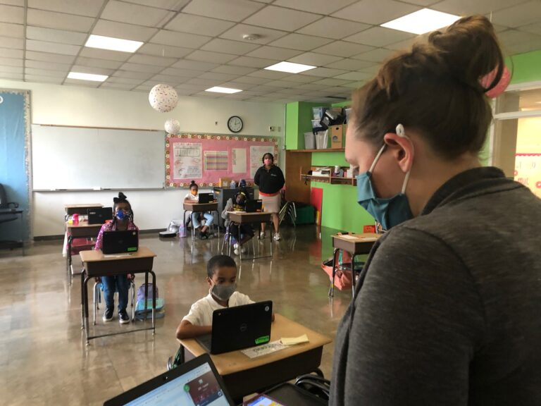 ordan Collings teaches her EastSide Charter third-graders who are in the classroom as well as at home.