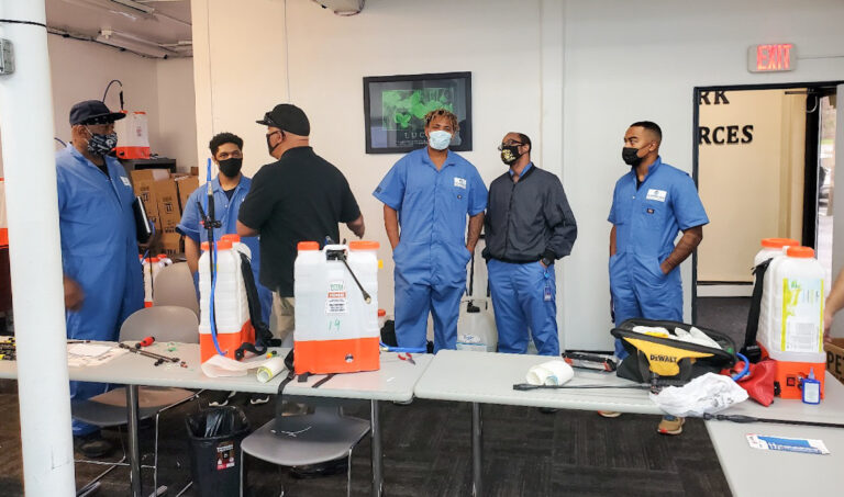 Members of the Personal Touch crew undergo a training at the Workplace Hub in Harrisburg, Pa. (courtesy of Shariah Brown)