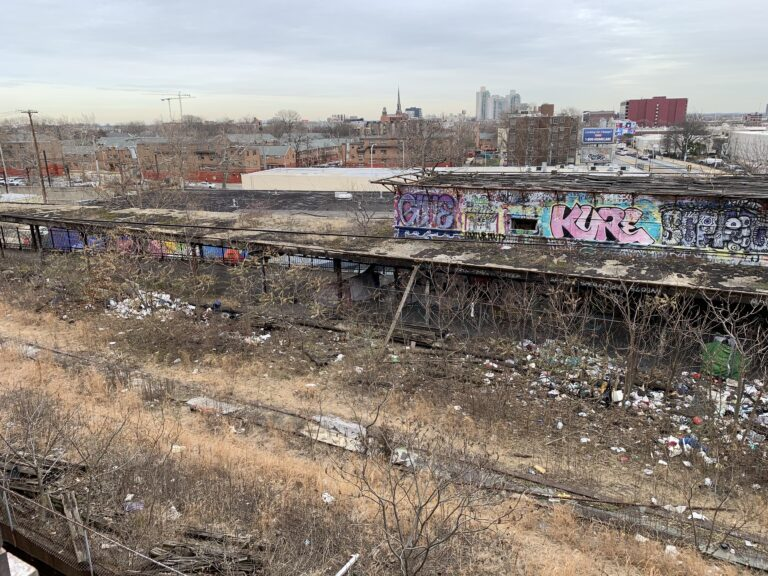 An aerial view of the derelict Spring Garden Station that was once part of the Reading Railroad. (Courtesy of Arts & Crafts Holdings)