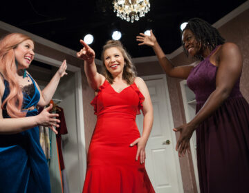 "From left to right, Grayce Hoffman, Sara Vanasse, and Taiwo Sokan perform in the Paper Doll Ensemble's production of ""Marry, Marry, Quite Contrary."