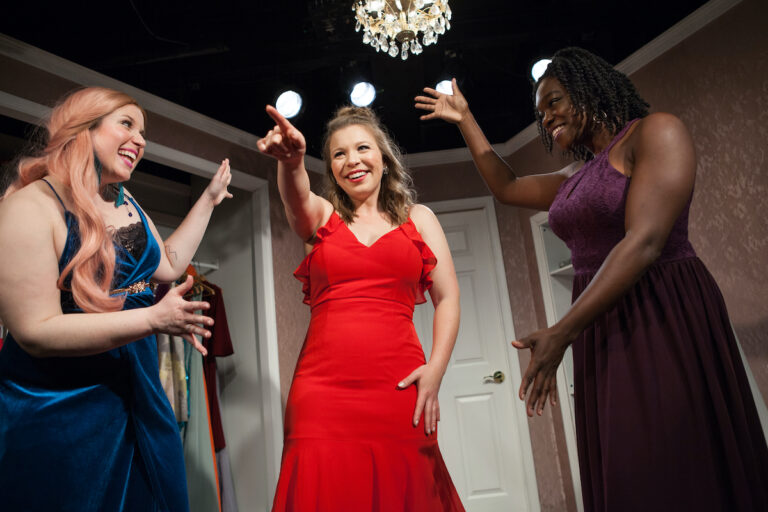 """Grayce Hoffman, Sara Vanasse, and Taiwo Sokan perform in the Paper Doll Ensemble's production of """"Marry, Marry, Quite Contrary."""