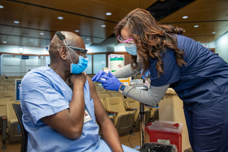 Penn Medicine's frontline workers receive the first round of COVID-19 vaccines on Dec. 16, 2020. (Courtesy of Penn Medicine)