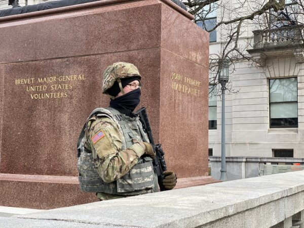 A member of the Pa. National Guard is pictured at the state's Capitol