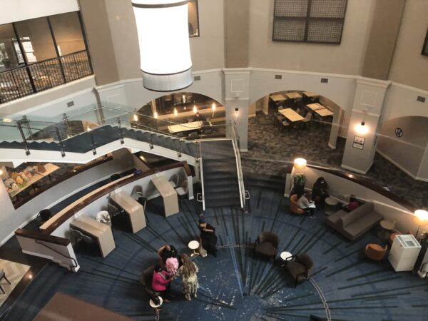 The Hope Center lobby as seen from one of the elevators. (Cris Barrish/WHYY)
