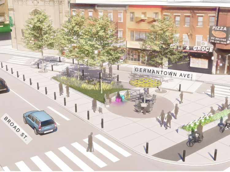 A rendering of a redesign proposed for the intersection of Broad, Erie and Germantown in North Philadelphia shows a lawn, trees and seating. (Provided by the City of Philadelphia)