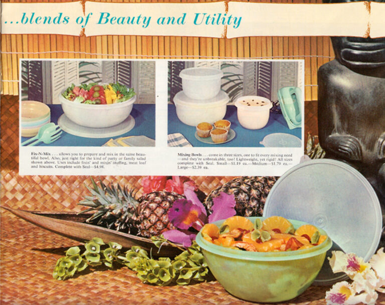 A tiki-style Tupperware magazine ad from the 1960s. Tupperware was created by Earl Tupper, a chemical engineer with Dupont, and began to enter the home after World War II. (Courtesy of Sarah Archer)
