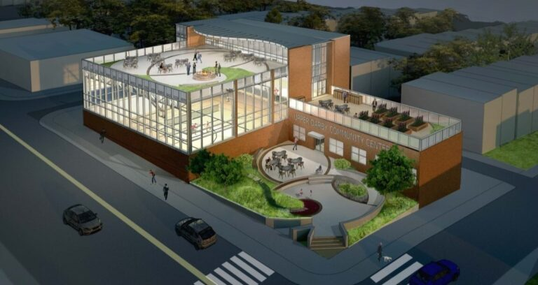 A preliminary rendering of the community center