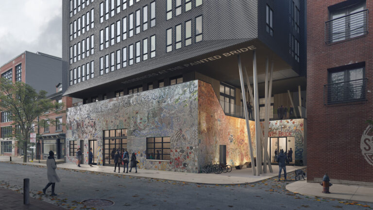 Architectural rendering of the apartment building proposal for the Painted Bride site from Atrium Design Group (Courtesy of Atrium Design Group)